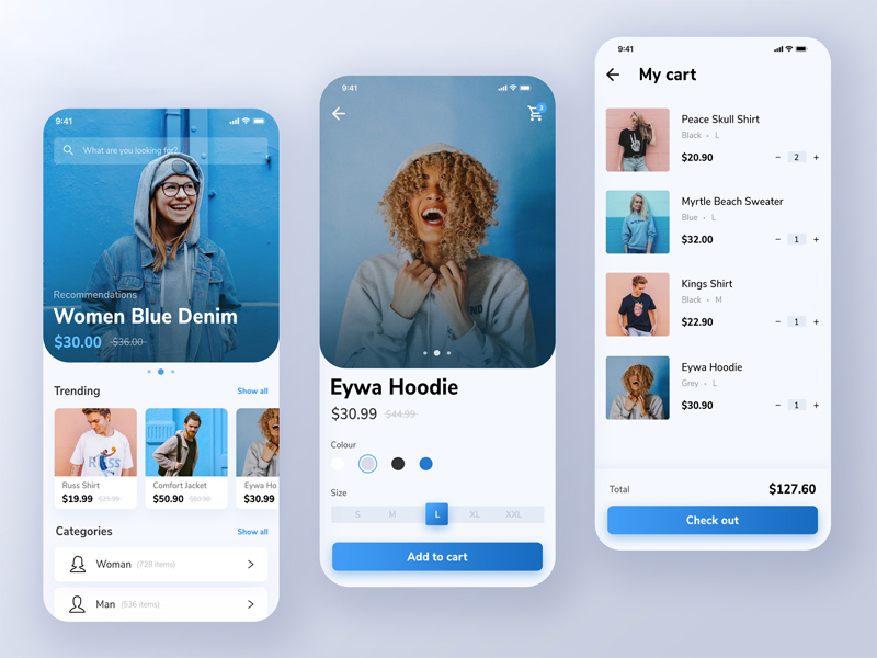 freebie psd online shopping mobile app design p2 - 3 top design for app in 2020